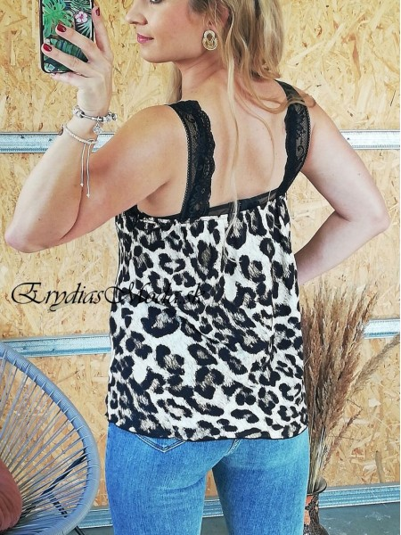 Leopardí top s krajkou Bright 21338