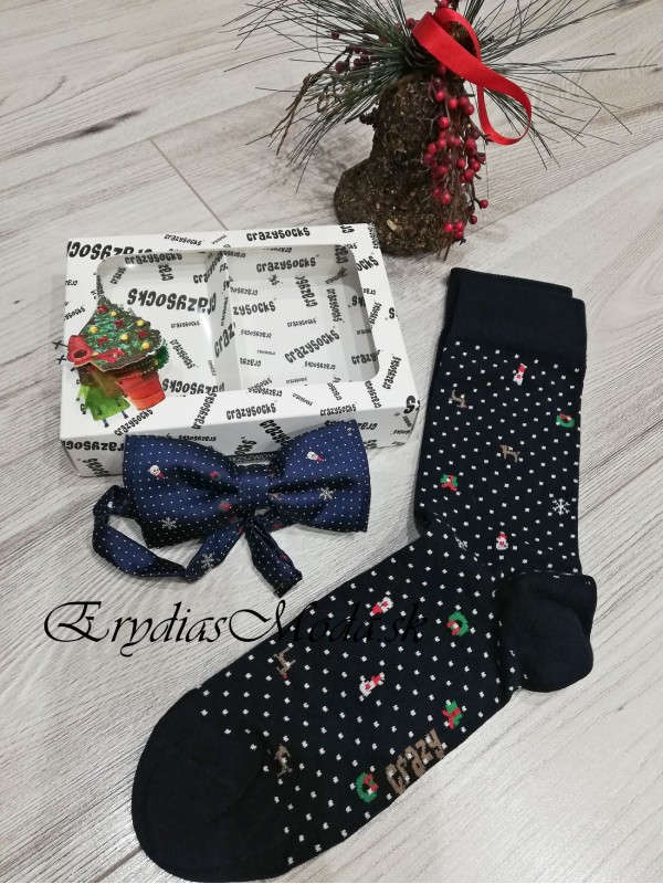 Darčeková sada motýlik a ponožky modré MPM12