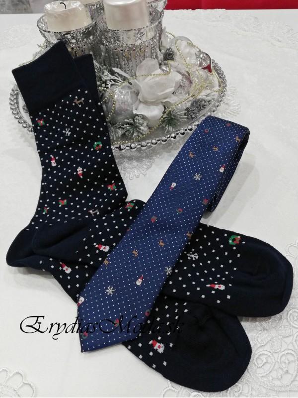 Darčeková sada kravata a ponožky modrá KPM12