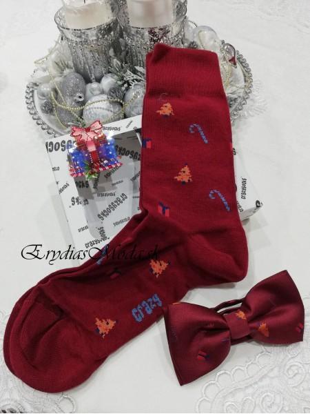 Darčeková sada motýlik a ponožky bordová MPB12
