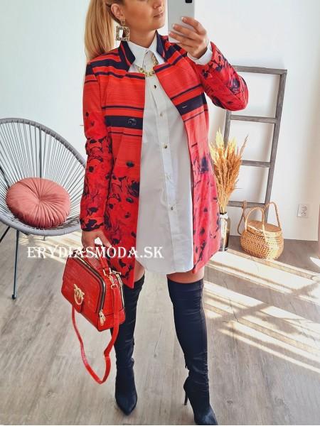 Červený prechodný kabát HE71