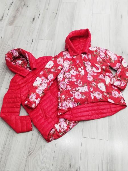 Obojstranná prechodná bunda Flower červená CP-6639