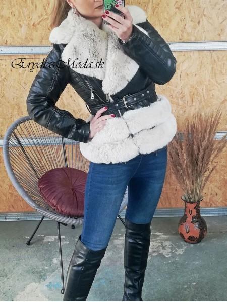 Koženka s kožušinou Caserta čierno biela PU6039