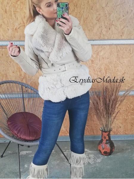 Koženka s kožušinou Caserta cream PU6039
