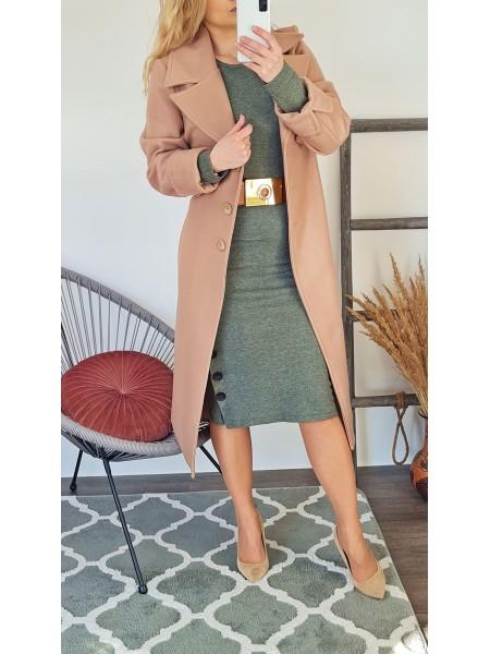 Elegantný dlhý kabát Glossy béžový E518