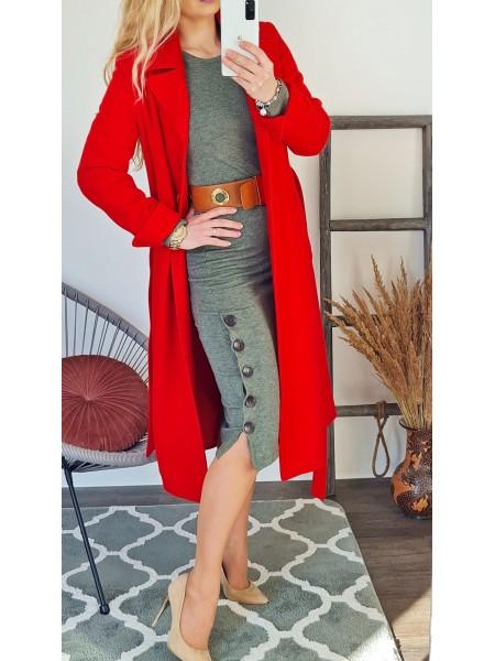 Elegantný dlhý kabát Glossy červený E518