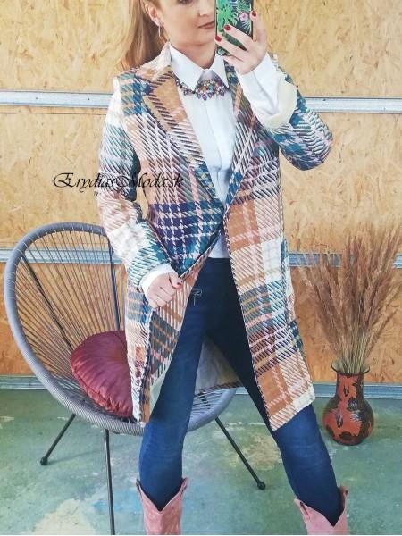 Kockovaný kabát Larysha hnedozelený 20617
