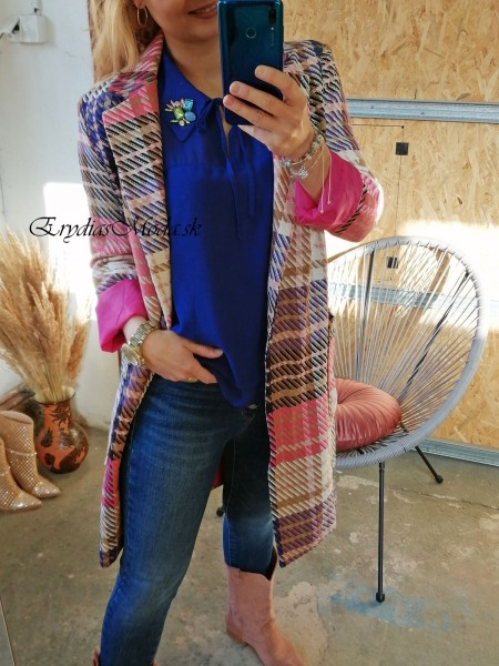 Kockovaný kabát Larysha ružovomodrý 20617