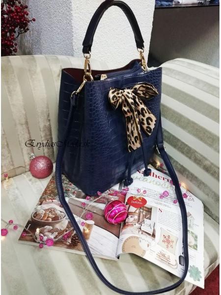 Modrá kabelka s leo mašľou DQ7439