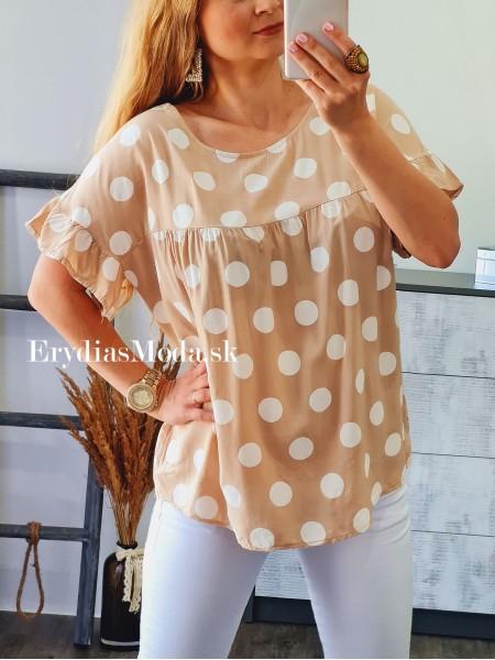 Bodkovaná košeľa hnedá 6752