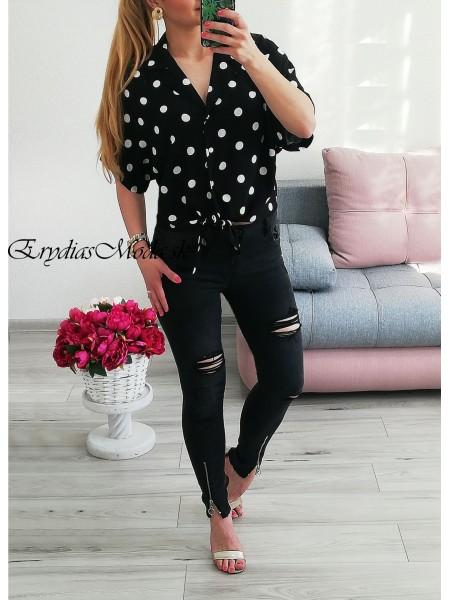 Bodkovaná košeľa Dots čierna P8