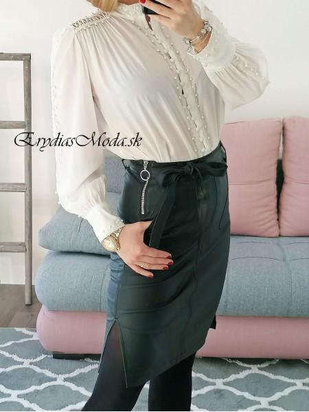 Čierna koženková sukňa Lady F685