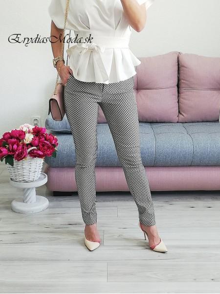 Kockované béžovo hnedé nohavice Lady Q55