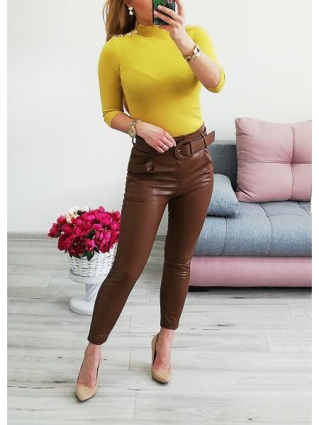 Koženkové hnedé nohavice Hollywood 6737
