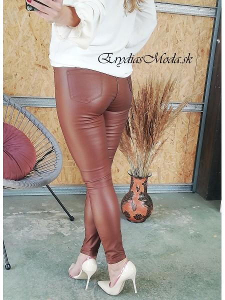 Hnedé koženkové nohavice Leona DJ288