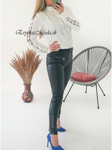 Čierne koženkové nohavice so zipsami Rock TR8162