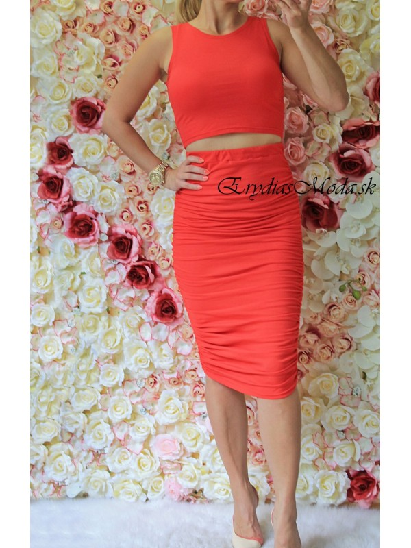 Komplet sukňa a top červený H502