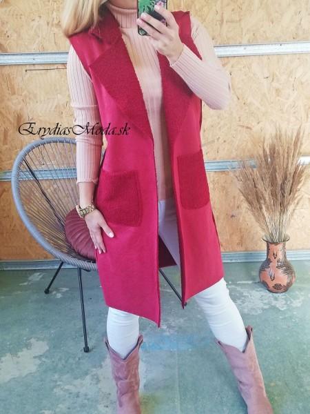 Kožušinová vesta Shelby bordová 19701