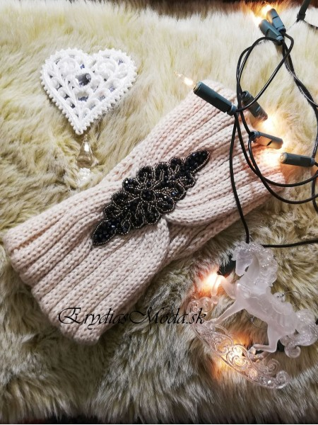 Čelenka pletená béžová Cm1146