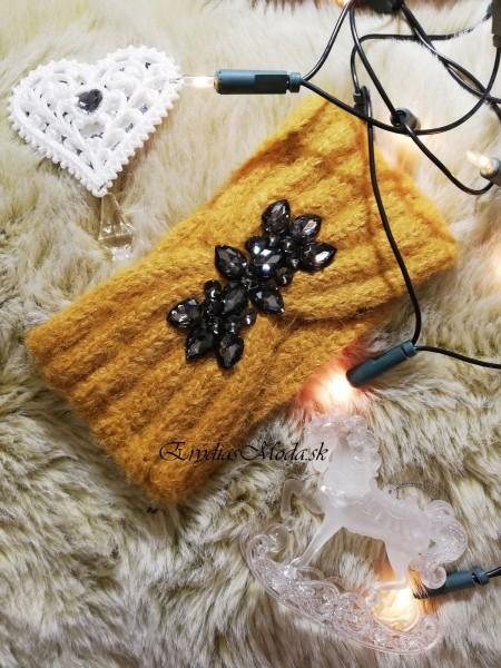 Čelenka pletená horčicová cm1286