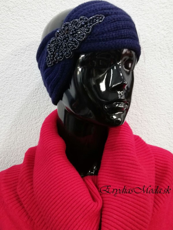 Čelenka pletená modrá CM1146