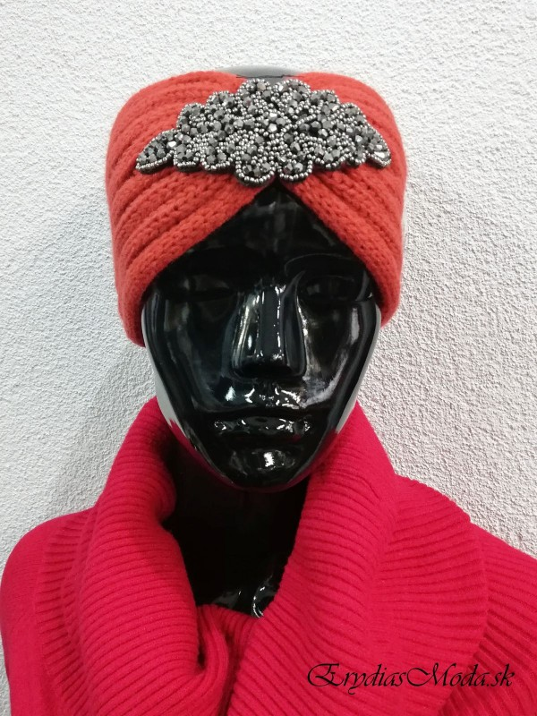Čelenka pletená oranžová Cm1146