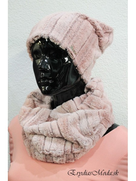 Čiapka kožušinová s nákrčníkom ružová S0911
