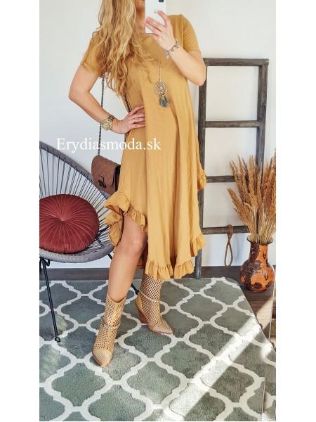 Asymetrické šaty Costa hnedé 6723