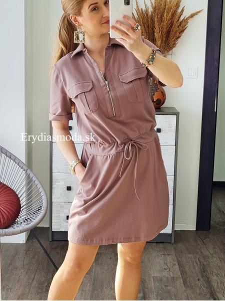 Teplákové šaty Bohemian hnedé TK509