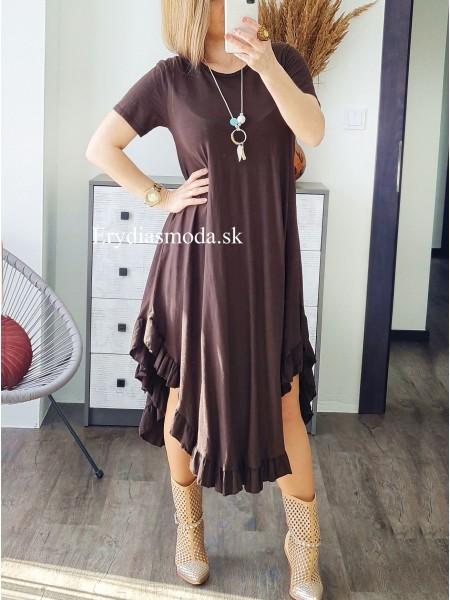 Asymetrické šaty Costa čoko hnedé 6723