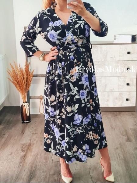 Kvetované šaty Mili čierne 19368