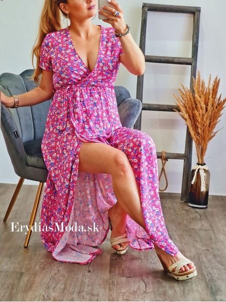 Maxišaty kvetované Fiori ružové 8809