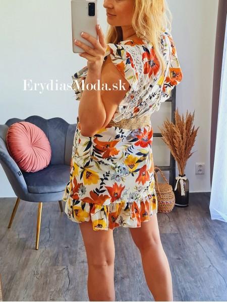 Kvetované šaty Florencia oranžové F323