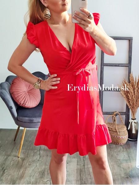 Áčkové prekladané šaty Merida červené TK738