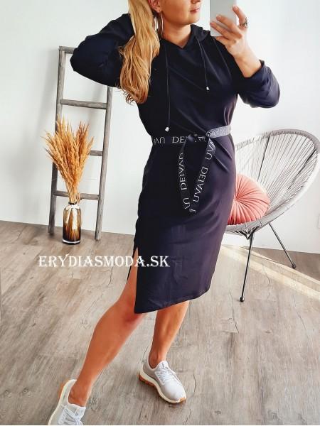 Šaty s kapucňou Tiara čierne TI852
