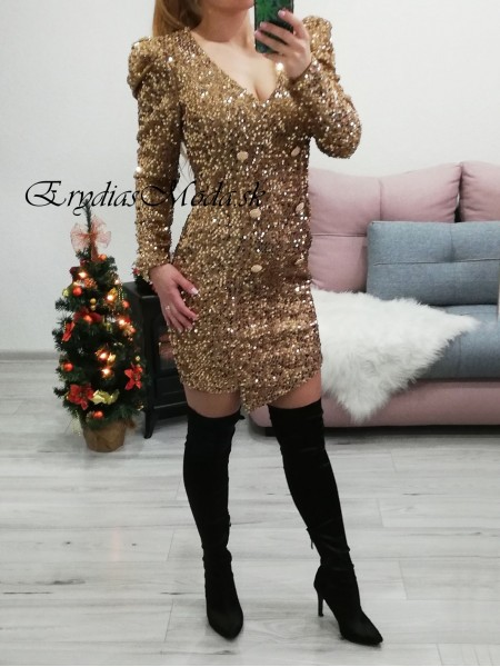 Flitrované zlaté šaty Glamour U5282