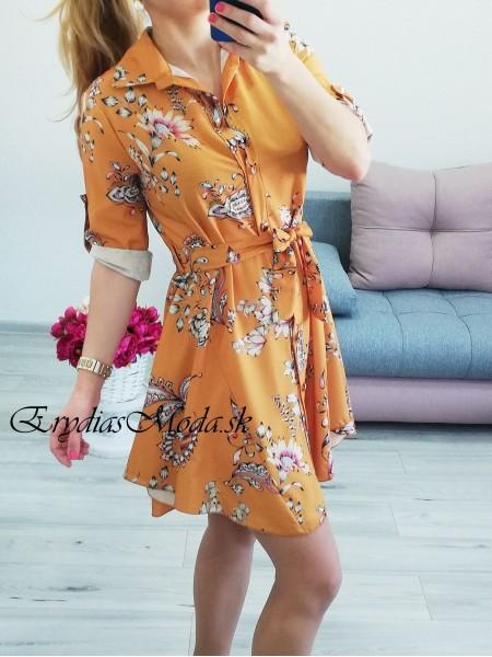 Košeľové šaty Flower horčicové 6852