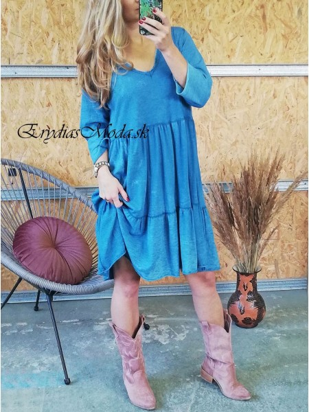 Bavlnené šaty Rania modré K03