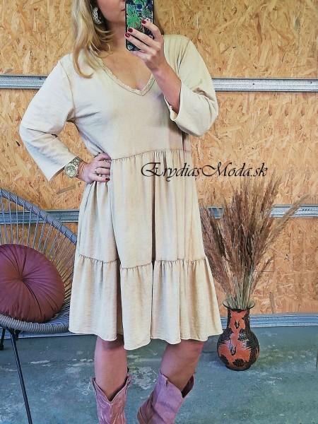 Bavlnené šaty Rania béžové K03