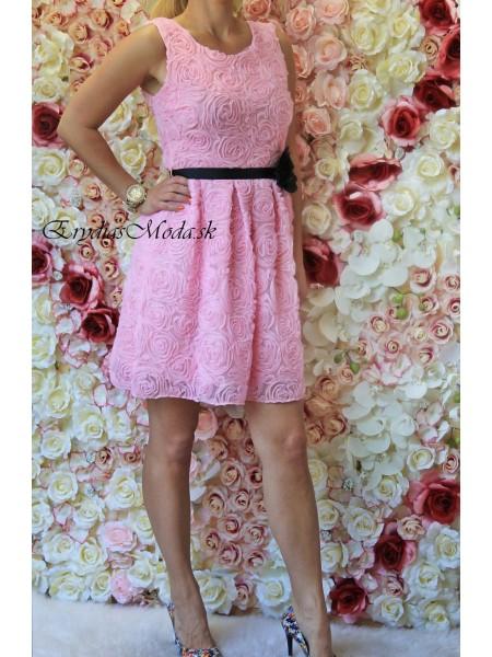 Šaty riasené Lilirose ružové S325-1