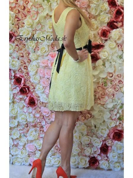 Šaty riasené Lilirose žlté S325-1