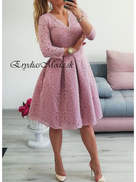 Krajkové midi šaty Rosemary lila SM907