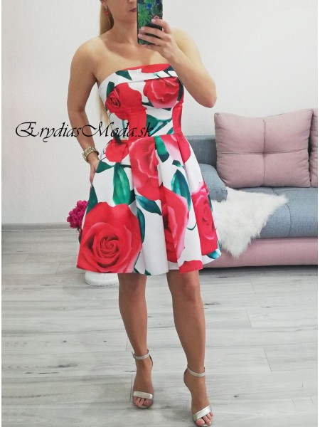 Spoločenské áčkové šaty Rose biele P333