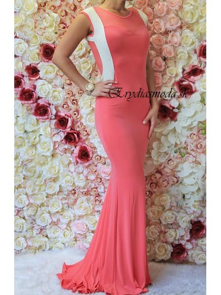 Spoločenské šaty s vlečkou ružové 51975