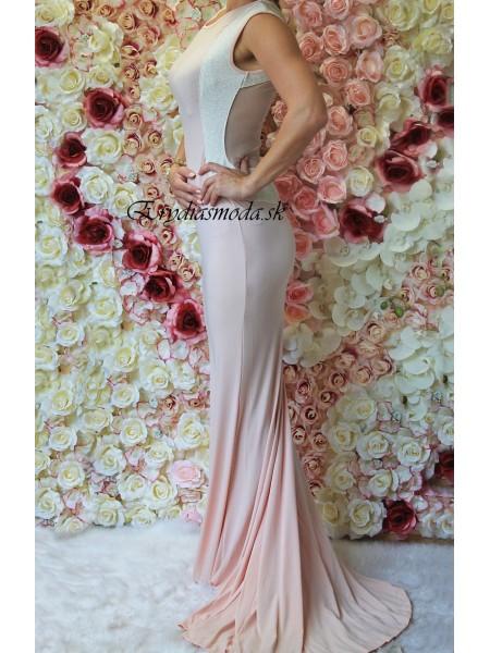 Spoločenské šaty s vlečkou púdrové 51975