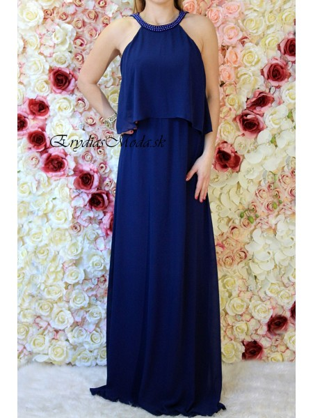 Spoločenské šaty s volánom Lola modré 8249