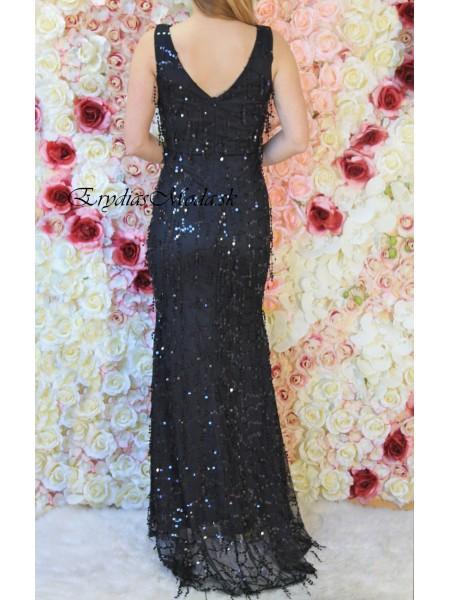 Čierne spoločenské šaty s flitrami Madona NR857