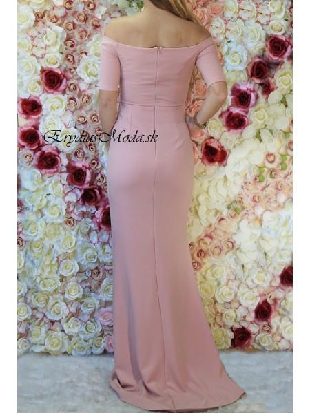 Spoločenské šaty s vlečkou ružové Lorry W1373