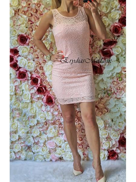 Krajkové šaty Elle ružové 7224