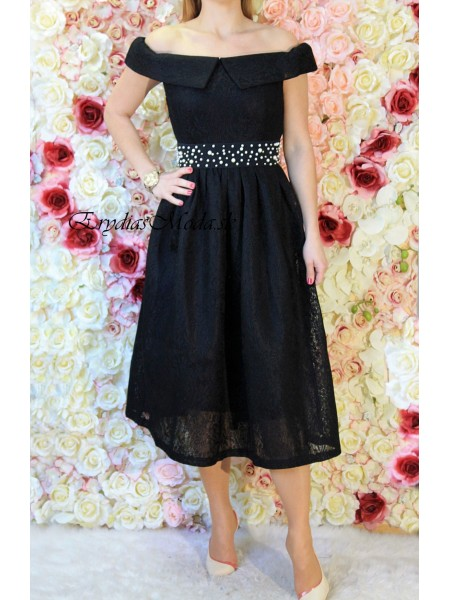 Krajkové midi šaty čierne 6601